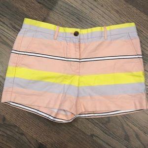 Gap Striped Shorts Colorful Yellow Pink White Grey